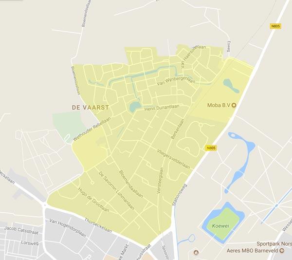 De kaart van Barneveld met daarin het wijkplatform Vliegersvel / De Vaarts geel gearceerd